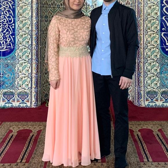 98748b20a1fd0 Modanisa Dresses   Blush Peach Modest Long Sleeve Hijab Evening Gown ...